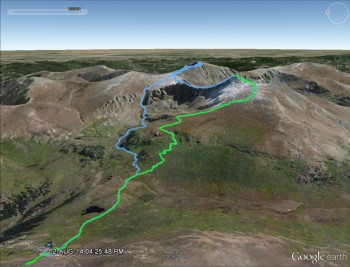 Green: our first route up Mt. Bierstadt last year Blue: Sawtooth, Bierstadt, Evans loop