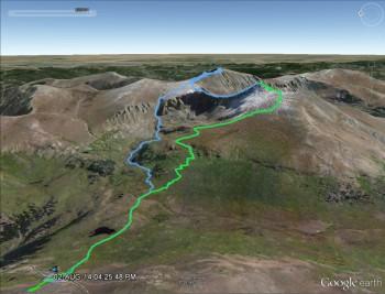 Green: our first route up Mt. Bierstadt last year Blue: Sawtooth, Bierstadt, Evans loop
