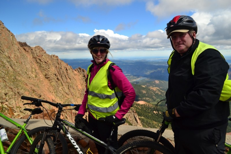 Taking in the scenery at about 13,500 feet. We had just enjoyed an amazing first section of steep downhill from Pikes Peak Summit.