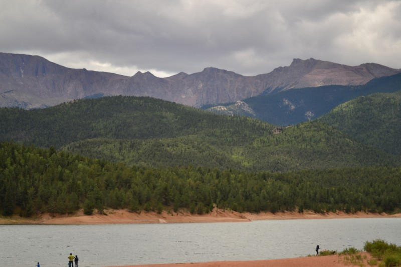 After one more stop at a gift shop around treeline, we sped down to Crystal Reservoir. Our speeds were too high (try 45-50 mph at times) to take photos until we reached this beautiful piece of water. Pikes Peak can be seen in the background.