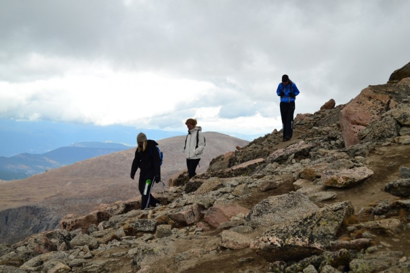 We begin our downclimb and brace our knees for the loose scree. Our hearts may thank us put our legs do not.